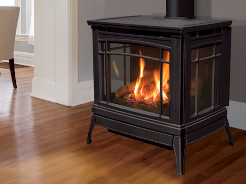 Enviro Berkeley Cast Iron Gas Stove 3 Sided View Of The Fire