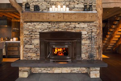 Cast Iron Enamel Wood Burning Fireplace Insert Installation | Ottawa