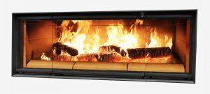 Split Pane Linear Wood Burning Fireplace
